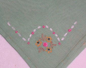 Antique Green Hanky with a Hand Embroidered Flowers - Handkerchief Hankie