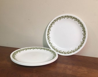 """Four+ Corelle Spring Blossom Green 8.5"""" Lunch / Salad Plates"""