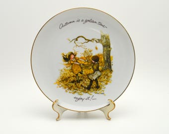 Vintage Holly Hobbie Plate, Autumn is a Golden Time, Custom Edition for JC Penney, Porcelain Collector's Plate, 1970s