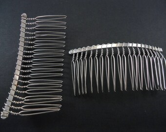 2 Hair Combs to customize in silver, 77mm - D3 hair comb