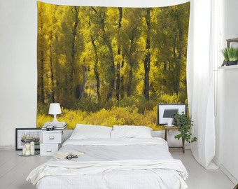 Autumn Trees Wall Tapestry, Yellow Tapestries, Landscape Photo, Nature Tapestry, Wall Hanging, Large Wall Decor. MW002