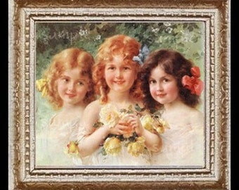 Sisters Miniature Dollhouse Dollhouse Art Picture 6633