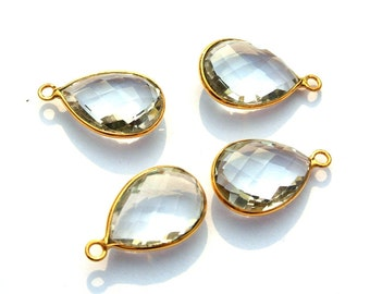 2Pcs 1 Matched Pair 22kt Gold Vermeil AAA Rock Crystal Quartz Faceted Pear Shape Bezels, Size 22x13.5mm Gold Vermeil On 295 Silver