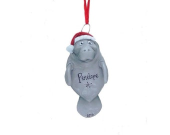 Manatee Personalized Christmas Ornament - Manatee in Santa Hat - Hand Personalized Christmas Ornament