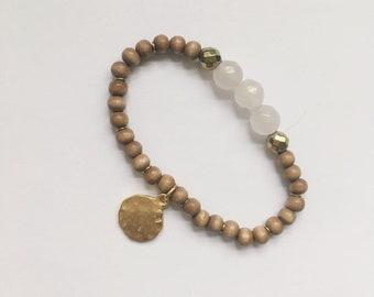 Lio Bracelet — carved quartz, Hand-strung, Adjustable elastic, wood, gold hematite, rustic boho gypsy nashville stacking neutral summer
