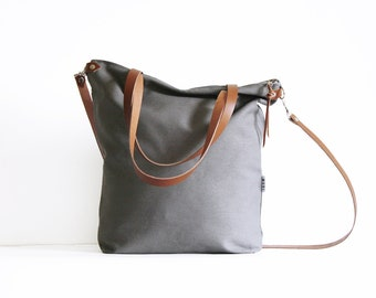 crossbody bag gray fabric, plain tote bags canvas, daybag, sac with leather strap, large handmade shoulder bag, minimalist bags for women