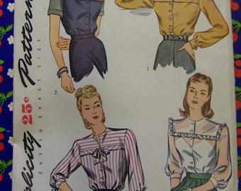 Vintage 1945 Simplicity 1487 BLOUSE 4 ways pattern Size 14 bust 32 COMPLETE