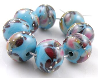 Celebrity Crush SRA Lampwork Handmade Artisan Glass Donut/Round Beads READY to SHIP Set of 8 8x12mm