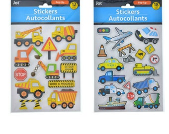 3 D Cars, Trucks, Boats, Construction Stickers 2 pack 30 Stickers Total