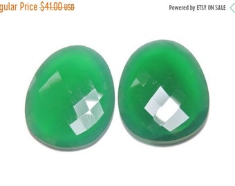 25% OFF Summer Sale 2 Pieces Extremely Beautiful Natural Green Onyx Faceted Irregular Shaped Loose Gemstone Size 30X27 MM