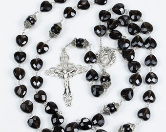 Heart Shaped Smoky Quartz Rosary - Handmade, Custom Gift for Catholic Women's Prayers with Marcasite Sterling Silver & Miraculous Medal