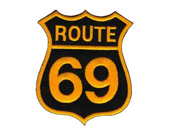 Ab60 Route 69 USA Travel country Biker cowl patches Patch Patch size 7 x 8.2 cm