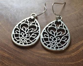 Boho Drop - silvertone dangling earrings with metal drop charm with cutout pattern - boho, bohemian, gypsy, hippie, hollow, trend