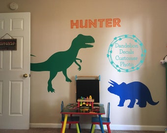 Dinosaur Wall Decal - T-Rex Wall Decal - T-Rex Wall Decor - Dinosaur Silhouettes - Triceratops Wall Decal