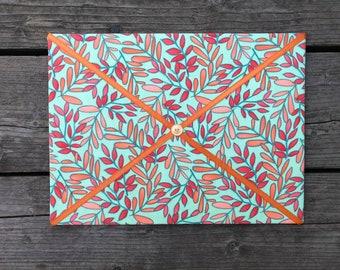 Green Floral Fabric Board w/ Orange Ribbon (CP)