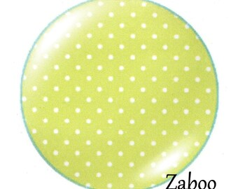 2 cabochons 25mm glass, dots, green