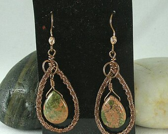 Unakite Jasper Woven Wire Loop Earrings