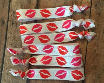 25 Lips kisses hair Elastic ties - Lips - business card - FOE - 5/8 Fold over elastic ties