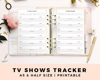 A5 HALF Size Printable Personal Planner Inserts, TV Shows Tracker, Productive Planner