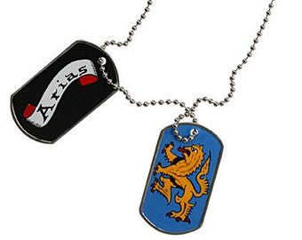Hand-Painted Dog-Tag Coat of Arms (Family Crest) with chain.