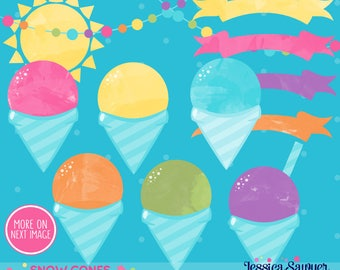INSTANT DOWNLOAD - snow cone party clipart or summer watercolor clipart