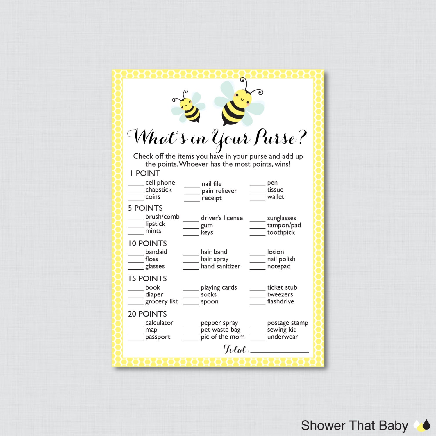 Bumble Bee Whats In Your Purse Baby Shower Game Yellow