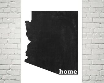 Arizona Home, Arizona State, Map of Arizona, Arizona Print, Arizona Art, Arizona Map, Arizona Wall Art, Arizona Sign, Arizona Gifts, Decor