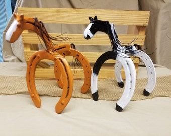 Horse Statue, Horseshoe Decor, Horseshoe Art, Horse Gift, Equestrian Gift