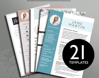Resume Boutique Template Bundle, 21 Professional Resume Templates in 1, Professional & Modern Resume Templates with photos, Microsoft Office
