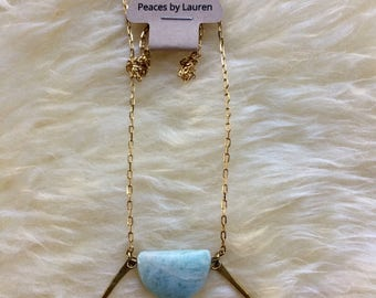 Amazonite and hammered brass necklace