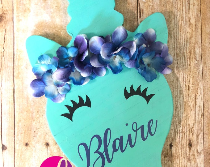 Featured listing image: Hand-Painted Personalized Unicorn Wood Decor