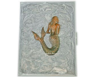 Metal Cigarette Case Burnished Mermaid Inlaid in Hand Painted Glossy Metallic Silver Swirl Design Enamel Nautical Inspired Personalized