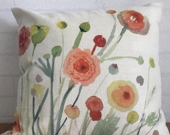 Handmade watercolor paint linen pillow cover