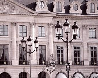 Paris Blush Pink Architecture, Paris Street Lamps, Paris Pink & Black Wall Art Print, Place Vendome Street Lamps, Paris Windows Rooftops