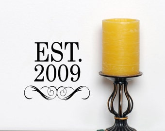 Est Personalized Monogram Established Date Vinyl Decal Sticker, custom family gifts, Wedding gift, Anniversary, House front door decor