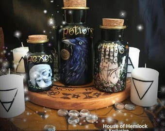Handpainted apothecary jar set