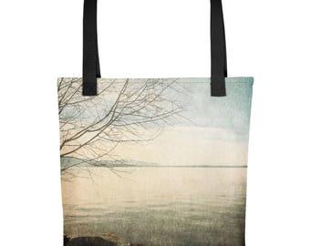 Pastel Waterfront Tote Bag / Nature Tote / Reusable Tote Bag / Reusable Grocery Bag / Pacific Northwest Bag / Art Shoulder Bag / Made in USA