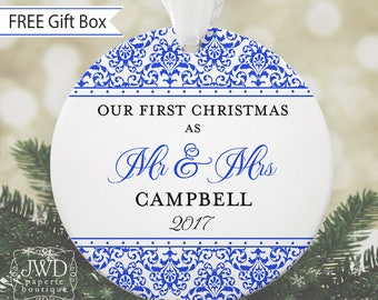 Couples Ornament Personalized First Christmas Ornament Wedding Christmas Ornament Newlywed Gift - Jazzy Damask -Choice of 30 Colors - OR1705