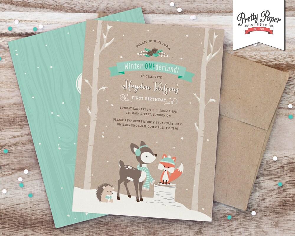 Winter ONEderland Birthday Party Invitation // Woodland Fox