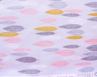 Cloud 9 Fabrics / Leaf Line-up First Light / Eloise Renouf/ Grey Pink / Organic Cotton Poplin / Sewing Dressmaking Quilting / Half Metre