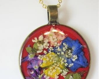 Garden on Red, Pressed Flower Pendant, Real Flower Necklace,  Resin (3025)