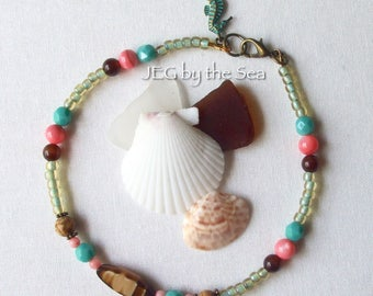 Turquoise Coral Brown Ankle / Wrist Bracelet, Beach Gypsy Hippie Boho, Czech Glass, Sea Turtle or Seahorse U-Choose Charm