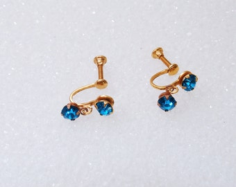 Aqua Blue Vintage Rhinestone Earrings