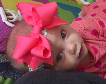 Bow Crown, Neon Pink (Hair Bow Attached by Band, Newborn-3 Yrs)