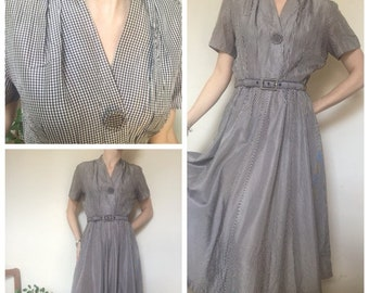 1950s vintage checked gingham taffeta dress purple cream black uk 10/12