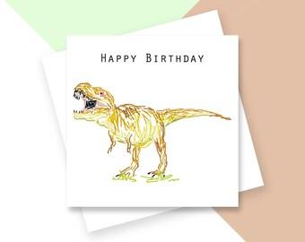 Dinosaur Happy Birthday greetings card