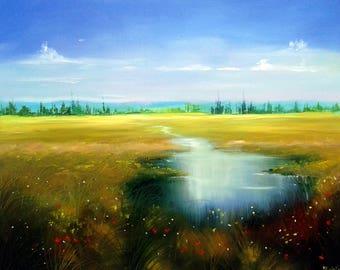 Summer rural landscape painting