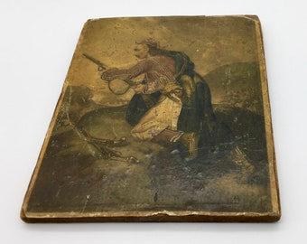 Antique Campaign Painting on Panel circa 183