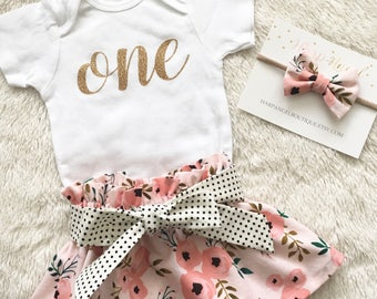 One Birthday Outfit, Watercolor Floral Skirt outfit,  Gold One Skirt Outfit, Girl Birthday Outfit, Floral Birthday Outfit