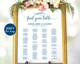 Wedding Seating Chart Template, Navy Blue Wedding Seating Chart Poster, Wedding Seating Chart Signs, Editable, VW00
